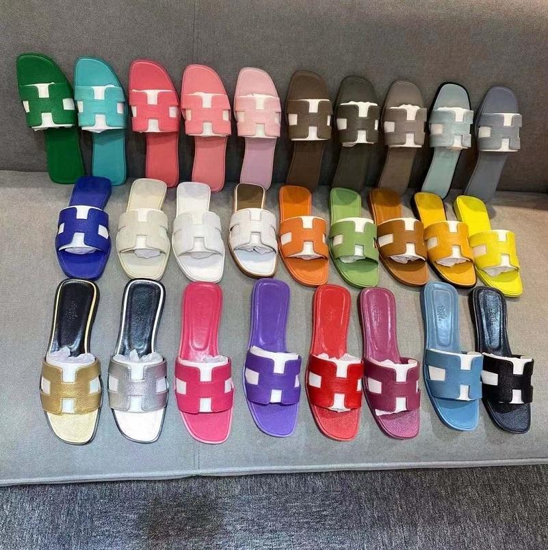 Con caja! Classics mujer zapatos de alta calidad zapatillas de cuero planas sandalias de moda diapositivas de caucho damas playa mujer zapatillas zapato10 08