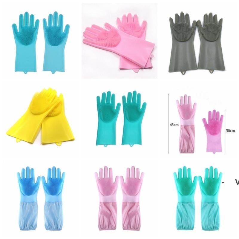 غسل أطباق قفازات سيليكون قفازات تنظيف فرشاة الغسيل سيليكون قفازات المطبخ مقاومة للحرارة لتنظيف السيارات الحيوانات الأليفة العناية بالشعر OWF6414