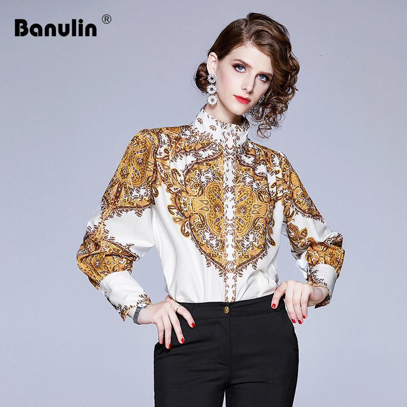 Banulin Paisley Print Elegant Blouse рубашка для женщин стойки воротник воротник фонарика белая желтая блузка женская мода новый 2019 T200321