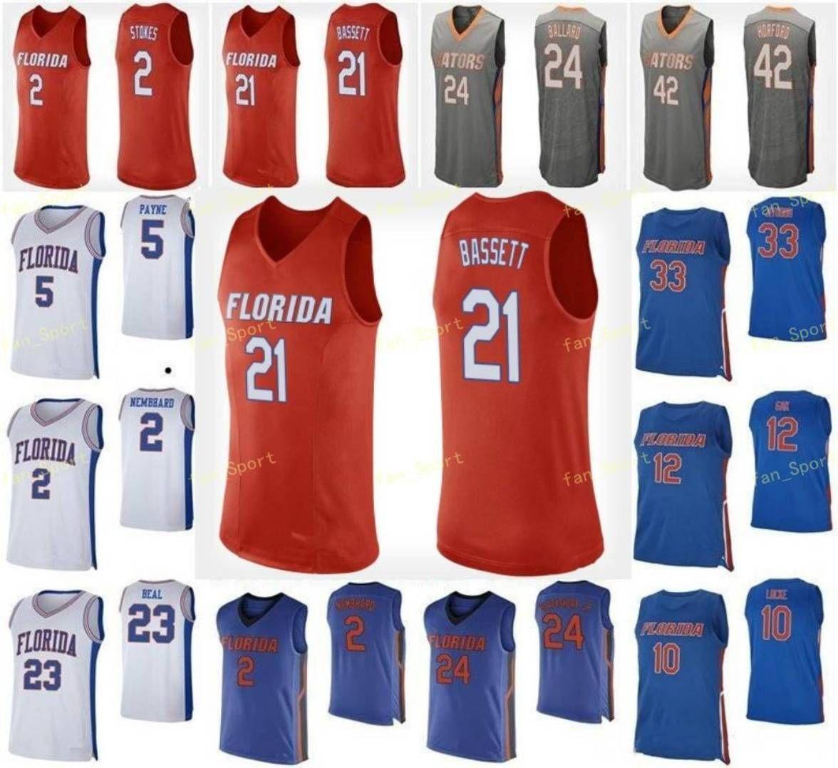 NCAA College Florida Gators كرة السلة جيرسي 2 أندرو Nembhard 21 Dontay Bassett 22 Tyree Appleby 23 Scottie Lewis مخصص مخيط