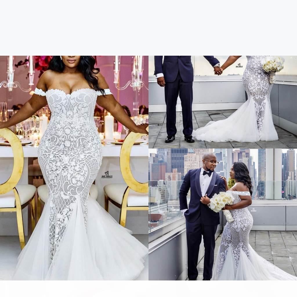 Smoothest Plus Размер Свадебные платья Русалка с плеча Милая шея труба свадебные платья промежутки поезда Тюль кружева аппликация свадебное платье
