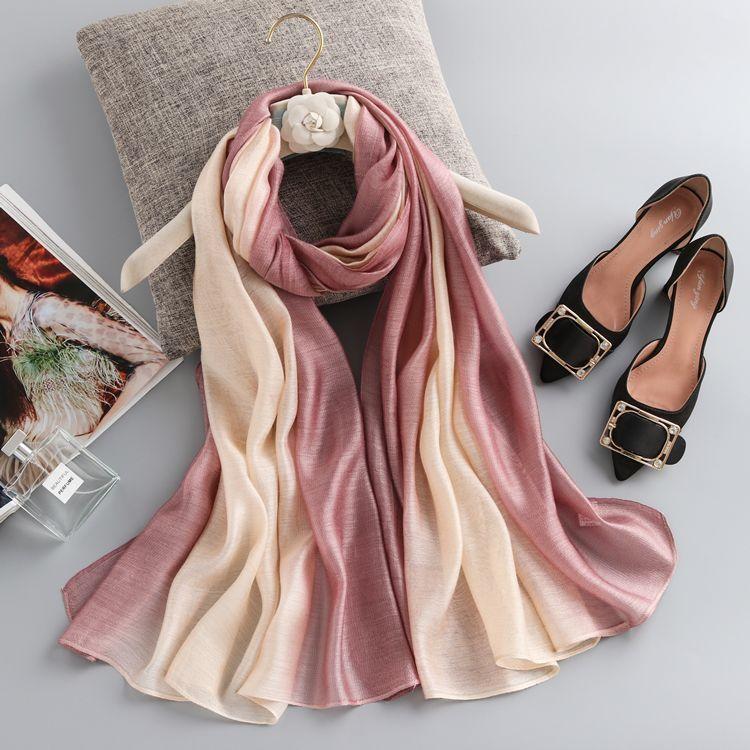 Shawls Gradient Mulberry Silk Selling Boutique Sunshade Playa Toalla de regalo Bufandas