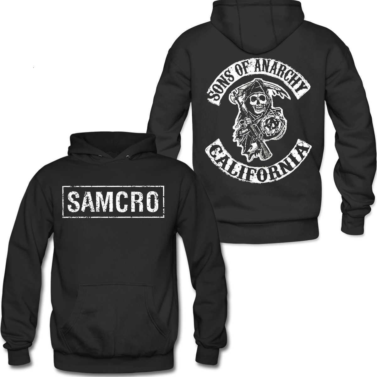 Vestes pour hommes Printemps et chute Sons d'anarchie Sweat à capuche à capuche double face à double face Samcro