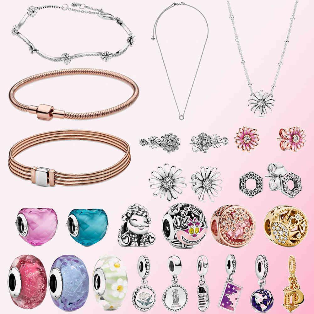 100% 925 Silver Snake Bracelet Stud Earrings Crown Daisy Flower Necklace Shoes Sun Sheep Heart Charm,fit Pandora Original Bracelet Women