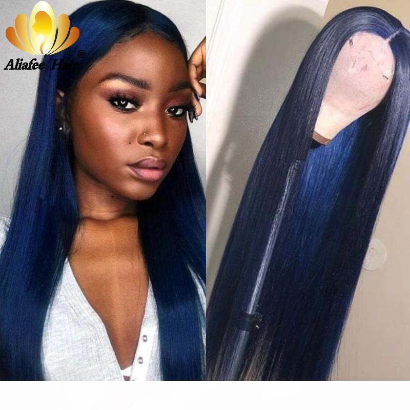 Aliafee Koyu Mavi Mor Renk 13x4 Brezilyalı Düz Saç Dantel? Ön İnsan Saç Peruk 150% Remy Uzun Peruk Öncesi Kadınlar için Kopardı