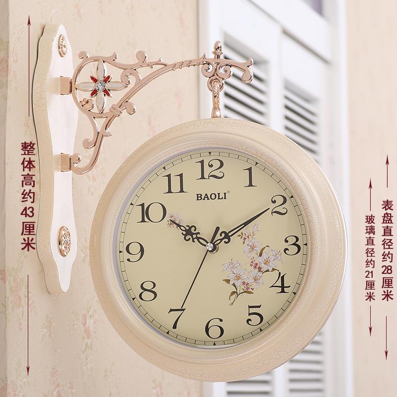 Romantik Avrupa Duvar Saati Modern Tasarım Lüks Yaratıcı Vintage Çift Taraflı Sessiz Reloj Pared Ev Dekorasyonu EB5WC Saatler