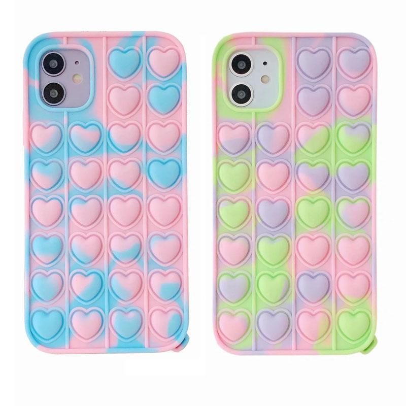 Festa favor camuflagem coração amor fidget casos para iphone 12 pro 11 xr xs max x 8 7 6 se2 samsung a32 5g a10e a11 A12 A51 A71 telefone de telefone macio de silicone