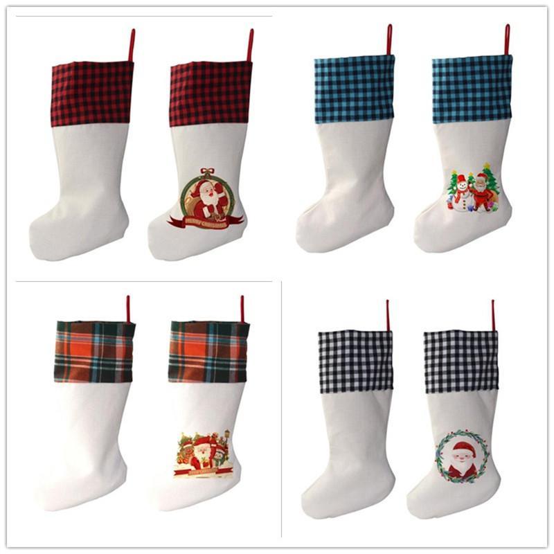 التسامي منقوشة عيد الميلاد جورج الكتان الأبيض الحلوى الجوارب سانتا كلوز هدية حقيبة عيد الميلاد شجرة oranment مهرجان الإمدادات للطفل