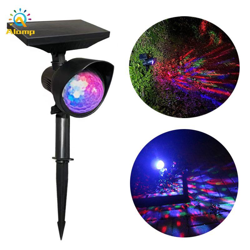 Iluminación láser solar mejorada Lámpara de proyección LED de rotación LED de rotación LED Magic DJ luces de bola para fiesta al aire libre Decoración