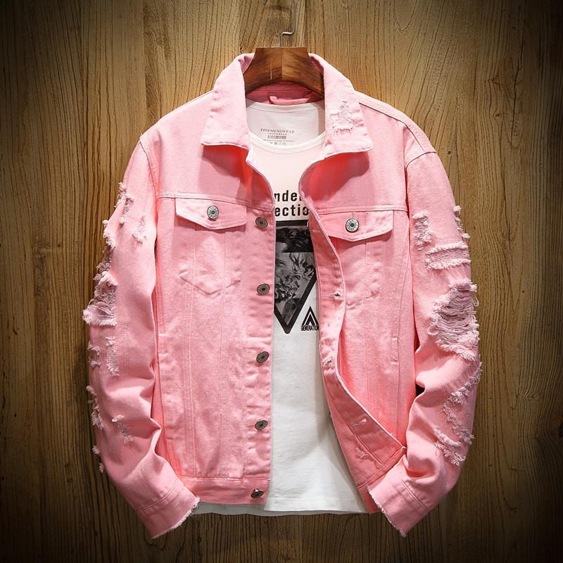 Fashiondenim Ceket Erkekler Yırtık Delik Pembe Jean Ceketler Konfeksiyon Yıkanmış Mens Denim Ceket