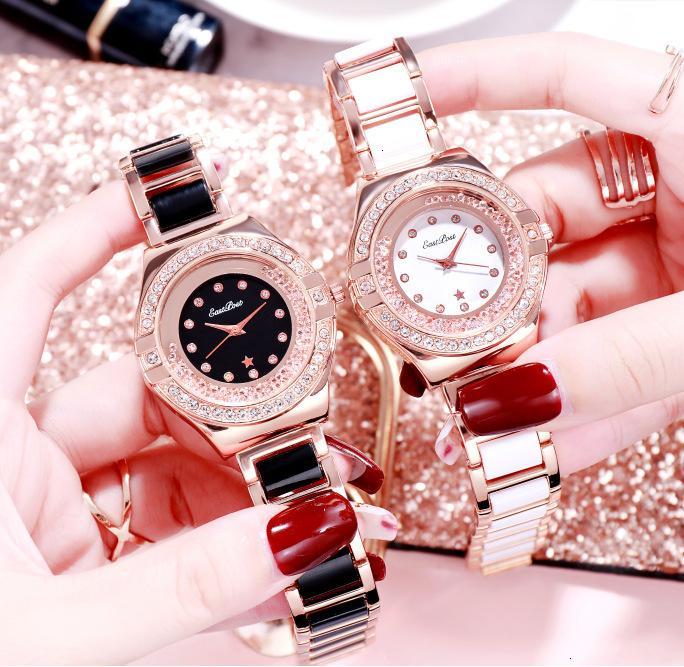 XiaoxianGfeng Femme Women's Diamond Simple Ceinture en acier Quartz Ceramic Watch Watch