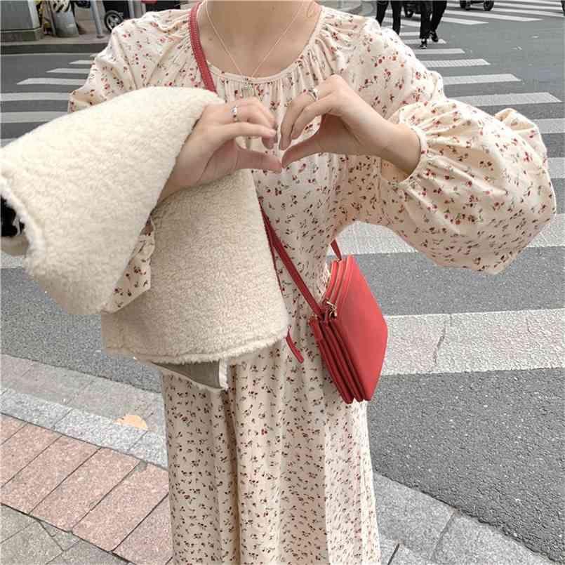 봄 여자 드레스 Boho Chiffon 여성 빈티지 파티 대형 긴 소매 여성 Es Robe Vestido 210423