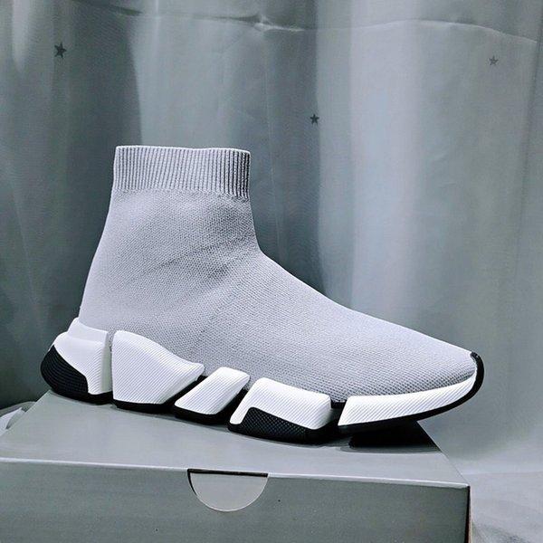 [Kutu ile] 2021 Tasarımcı Çorap Spor Ayakkabı Erkek Hız 1.0 Eğitmenler Lüks Kadın Erkek Koşucular Eğitmen Sneakers Çorap 2 Çizmeler Platformu Boyutu 36-45 01