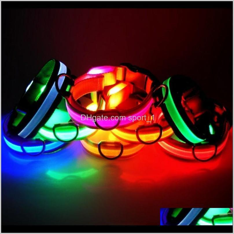 Leashes Supplies Home & Garden Drop Delivery 2021 Led Nylon Collar Dog Cat Harness Flashing Light Up Night Safety Pet Collars Multi Color Xs-