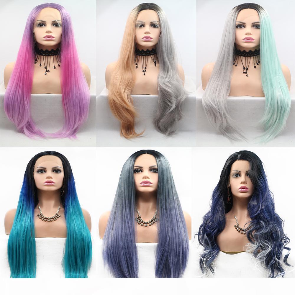 Cosplay Synthetische Farbige Perücken Natürliche Haarlinie Modische Natürliche lange Körperwelle Perücke Verschiedene Farben Faser Unterschiedliche Länge