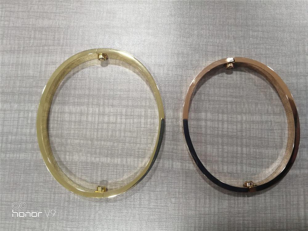 الجملة الأزياء سوار مجوهرات تصميم الكلاسيكية الفولاذ المقاوم للصدأ الماس ساطع أساور الذهب روز الذهب مطلي هدية الأساور الإسورة مع مربع