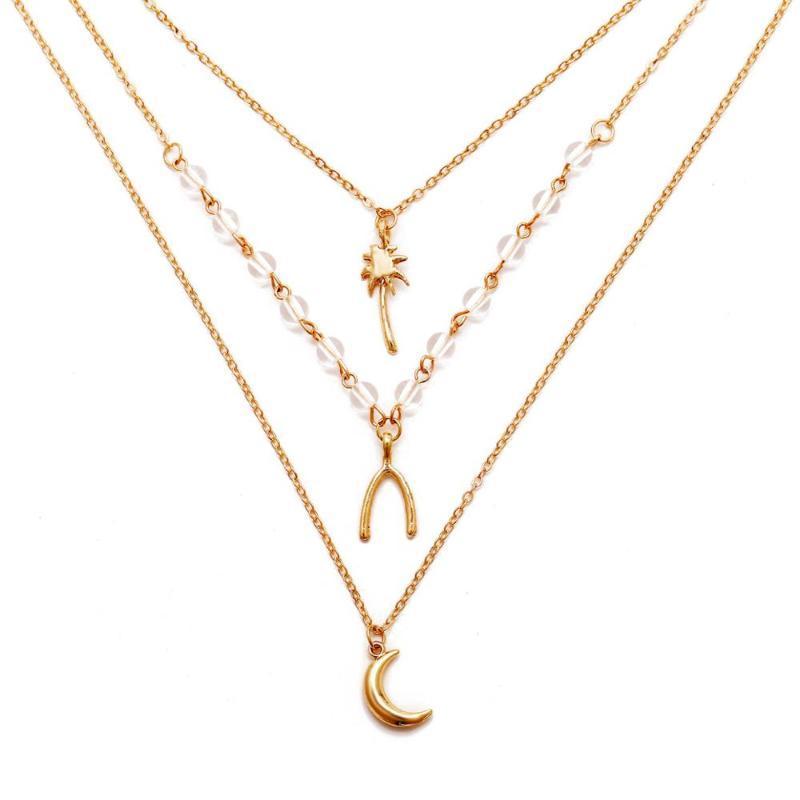 Multi-Layer Clawicle Kette Exquisite Legierung Big Moon Wishing Kokosnussbaum Anhänger Kristall Frauen Halskette Schmuck Frauen Halsketten
