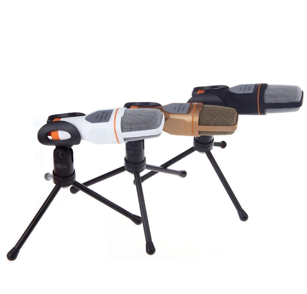 Micrófonos de 35 mm o Condensador estéreo con cable SF666 Soporte de micrófono Clip para PC Chatting Cantando Karaoke Laptop al por mayor con IT0 G2HZN