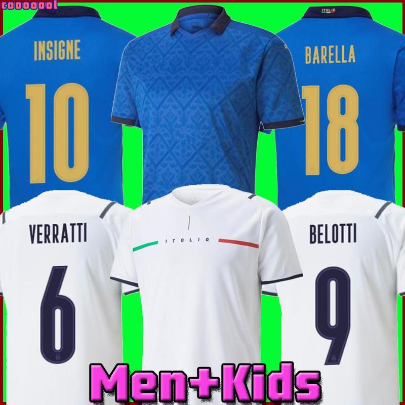 2021 إيطاليا Soccer Jersey Insigne Bernardeschi Football Shirt Chiellini Bonucci Belotti Jorginho Sensi Barella 21 22 Top Thiland Men و Kids Kits Offe