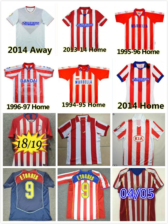 ATLETICO MADRID 1994 1995 1996 1997 2003 2003 2004 2005 Retro Fussball Jerseys Home 10 11 13 14 15 18 19 F.Torres Vintage Camiseta de Futbol Klassischer Gedenken an Fußballhemd