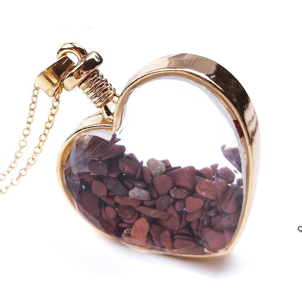 Crystal Heart Colgante Collares Party Supplies Damas Drifting Deseando Botella de cristal Collar para mujer Joyería de moda DHD6142