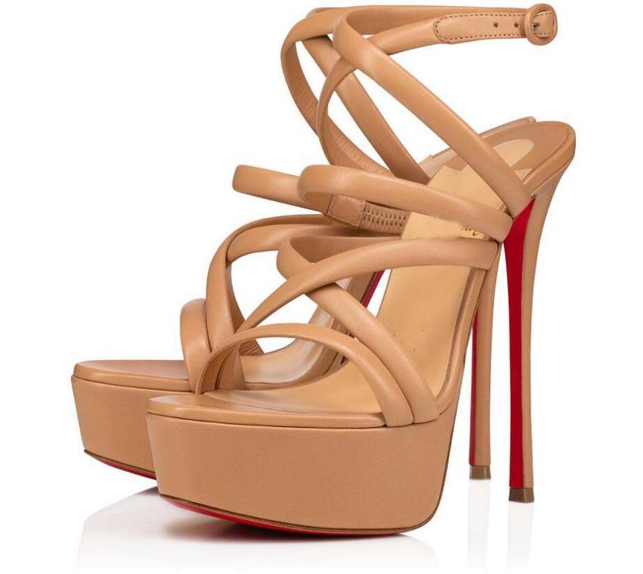 Verão Alta Red Bottom Sapatos Sandálias Sandálias Estappy Women's Heaver Heaver Saltos Nude Nude Luxo Designer Lady Gladiator Platform Bombas EU35-43