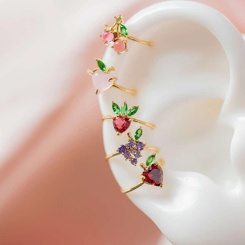 Shiny Side New Accessories Crystal Fruit Clip Earrings for Women Simple Style Cherry Grape Pineapple Earrings2021