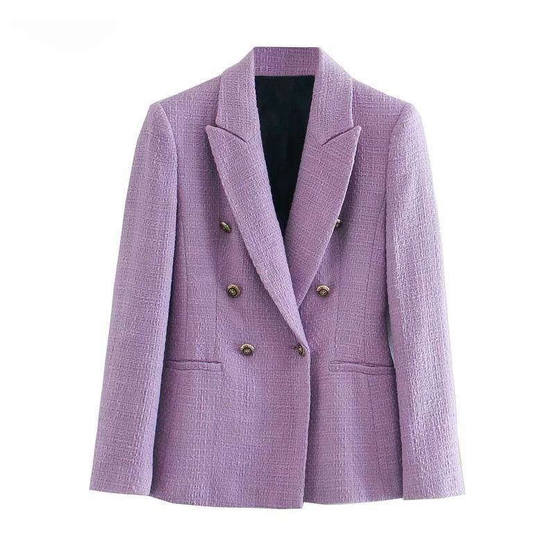 كم قمم قميص الصدر بيربل تويد السترة النساء مكتب ارتداء أنيقة سترة معطف أنيق طويل 2020 الأزياء