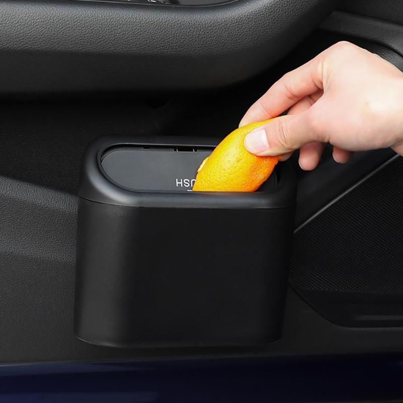 Other Interior Accessories Car Trash Can Hanging Vehicle Garbage Bin Organizer Kitchen Office Small Storage Box Black Auto 2021