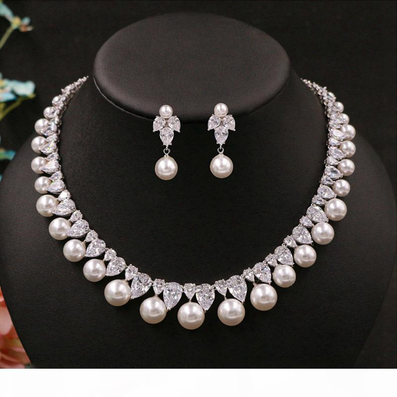 Kubikzirconia Runde Perle Bohrer Edle Zierliche Braut Halskette Anhänger Ohrstecker Schmuck Hochzeit Zubehör für Frauen