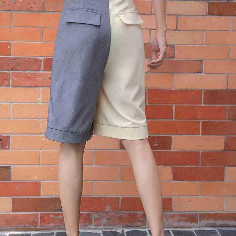 Damen Shorts Sommer Frauen Kontrastfarbblock Hohe Taille Designer Anzug Koreanische Mode Kleidung für Womens F6rh