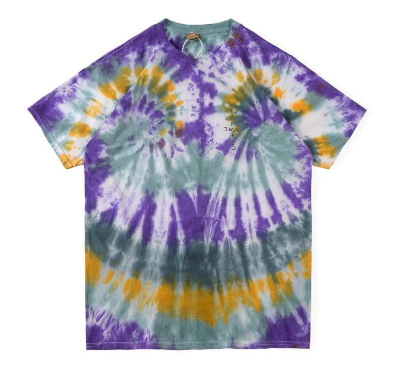 T-shirt da uomo Mens Desighner T-shirt Astroworld Festival Run Tie Dye Tee Manica Corta T-Shirt Top Casual Moda Abbigliamento maschile