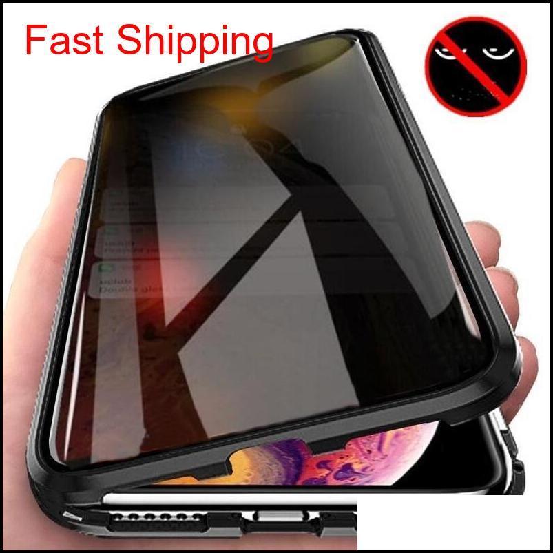 Hücre Kılıfları Manyetik Temperli Cam Gizlilik Metal Kasa Coque 360 Mıknatıs Antispy Koruyucu Kapak Telefon XR XS Max X 8 7 Artı Cyberst SD1FZ