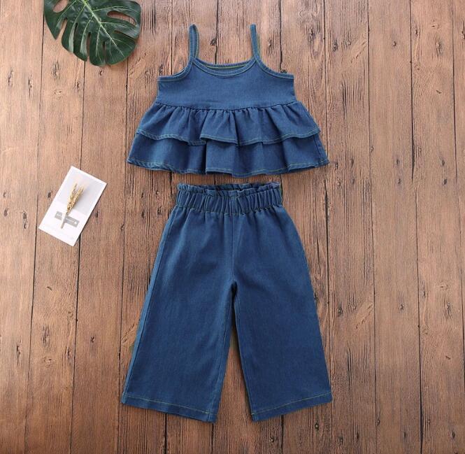 Criança meninas bebê crianças roupas de verão conjunto denim plisse sem mangas t-shirt tops + calções soltas casuais