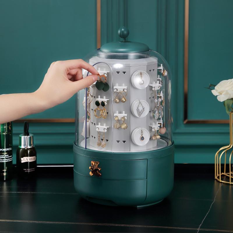 الأزياء 360 الدورية مربع المجوهرات أقراط قلادة رف النعش كبير مجوهرات صناديق التخزين المنظم هدية للفتيات الحقائب