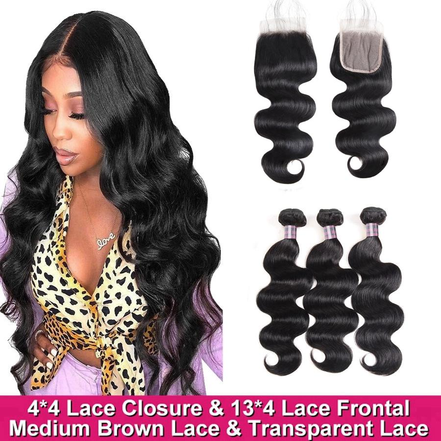2021 Brazilian Virgin Human Hair Bundles with 4*4 Transparent Lace Closure Frontal 13*4 Body Wave Malaysian Peruvian for Women All Ages 8-28