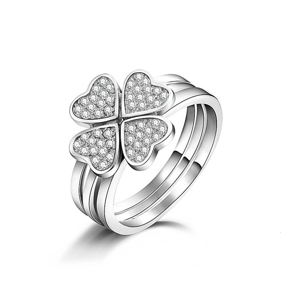 925 Silver Ring lucky clover combination ring for ladies
