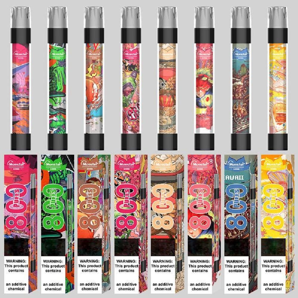 Mostro Shine Dispositivo monouso Pod Kit sigarette 800 sbuffi 550mAh batteria 3.0ml cartuccia di cartuccia prerientata Pods Flash Light vs Air Bar LUX
