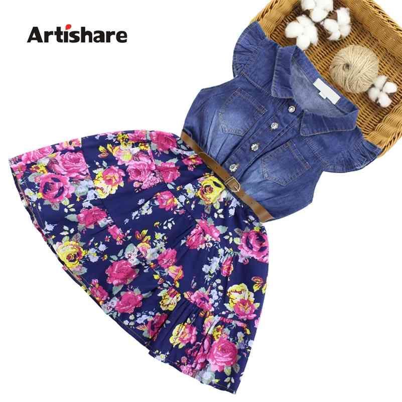 Artishare Denim vestidos para meninas crianças florais vestido com cinto vestido casual menina festa adolescente crianças meninas 6 8 10 12 14 210331