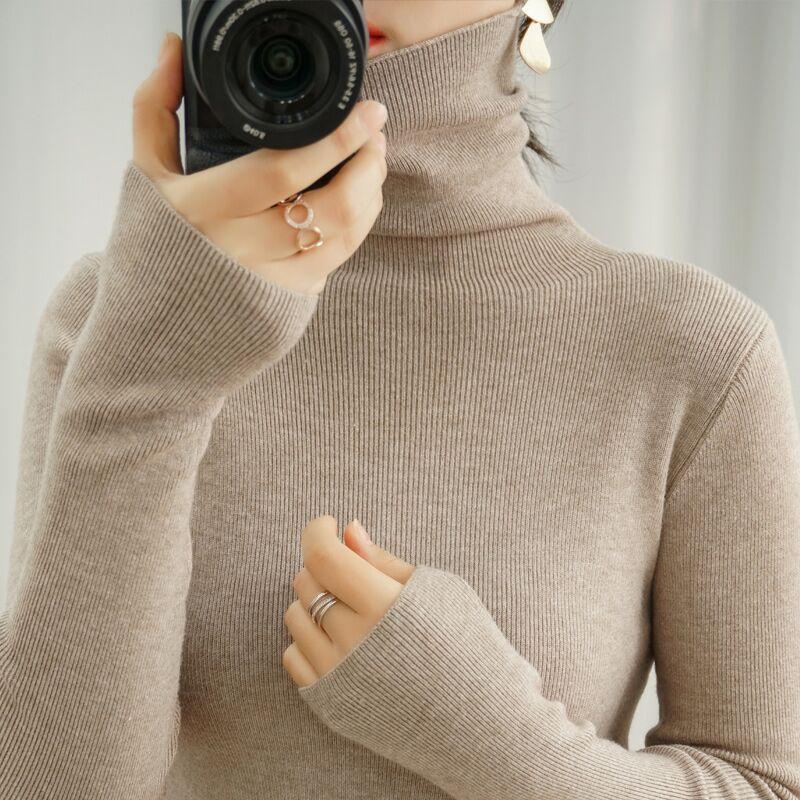 Frauenpullover 2021 Pullover Weiblicher Herbst Winterhaufen Rollkragen Strick Draußen Tragen Untere Oberseite