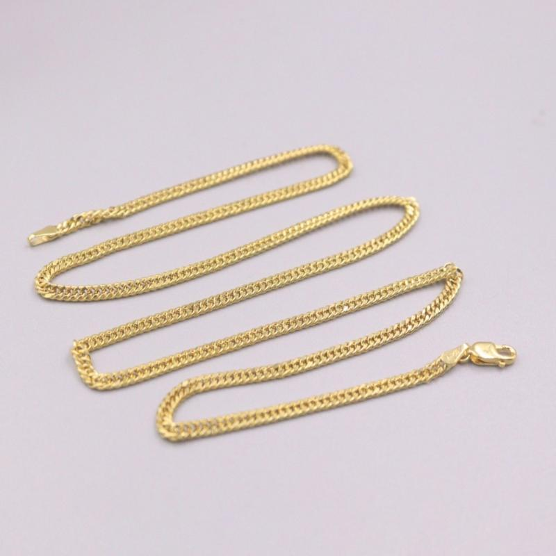 Pure 18K Yellow Gold Necklace 2.5mm Curb Link Chain 3.7-3.9g / 18inch For Women Gift Chains