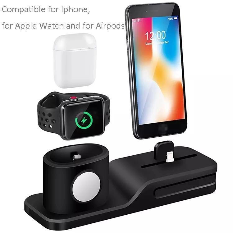 Cep Telefonu İzle 3 in 1 Destek Kablosuz Şarj Baz Dolum Silika Jel