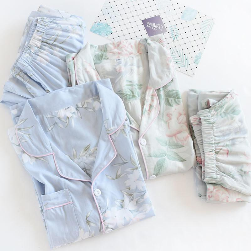 2021 printemps nouvelle dames pyjamas Ensemble floral imprimé thermique coton style simple style femme manches longues + pantalon à 2 pièces homewear