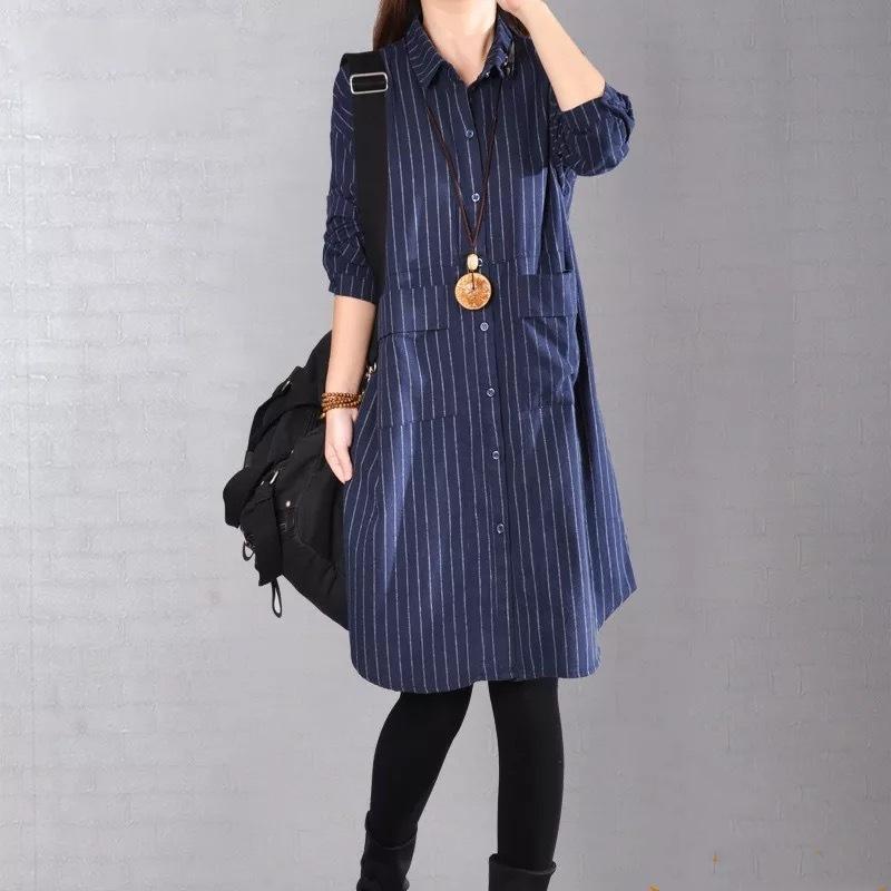 Chemise de grande taille T-shirt coréen Littérature et art Stripe Stripe Stripe Coton Hemp shirt de chanvre en coton