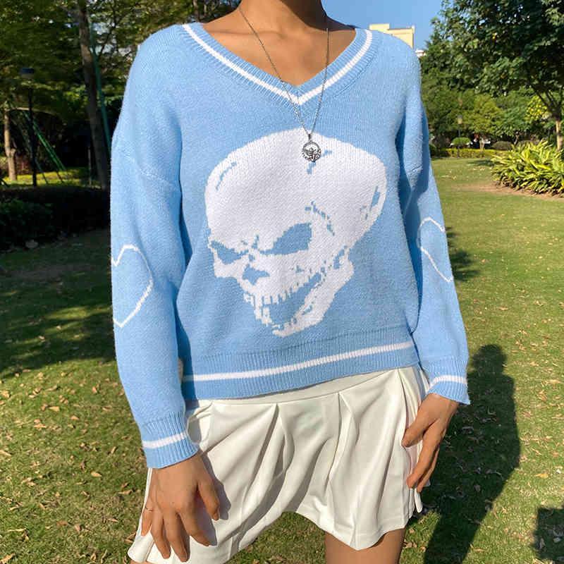 Skulls Y2K donna maglioni maglioni femminili pullover con scollo a V maglia maglieria streetwear autunno manica lunga e-girl top inverno jumper 210415