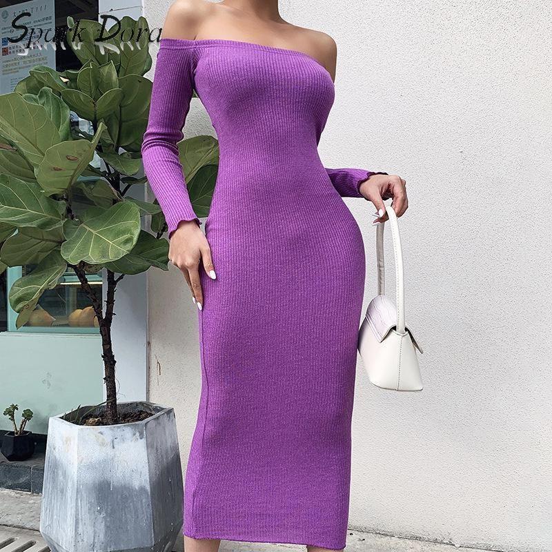 Casual Dresses SparkDora Big V 2021 Spring Off Shoulder Dress Temperament Sexy Versatile Bag Hip Show Thin Step