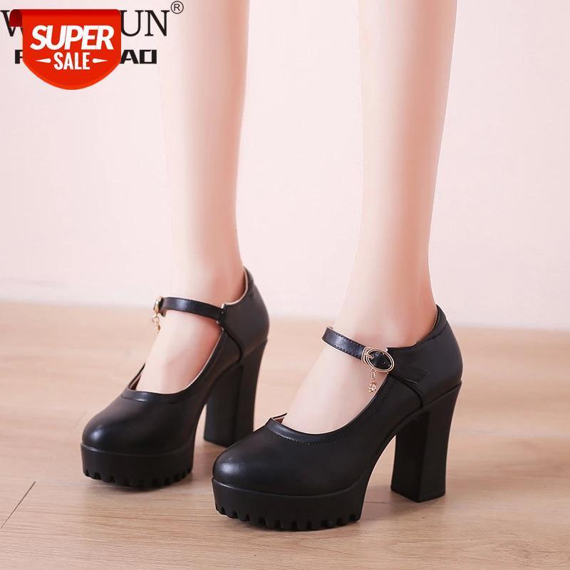 Mature Block Heel Platform Pumps Women Wedding Shoes 2021 Spring High Heels Ladies Mary Jane 32 -41 42 43 #at0d