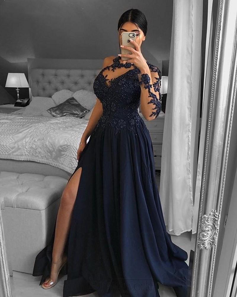 Один плечо Темно-синий Dubai вечерние платья с длинным рукавом A-Line Split Satin кружева с бисером Официальное платье выпускного вечера халат De Soiree 2021