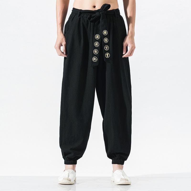 큰 야드, 5 XL.Youth 캐주얼 바지 여름 남성 스타일 편안한 패션 트렌드 벨트 자수 할론