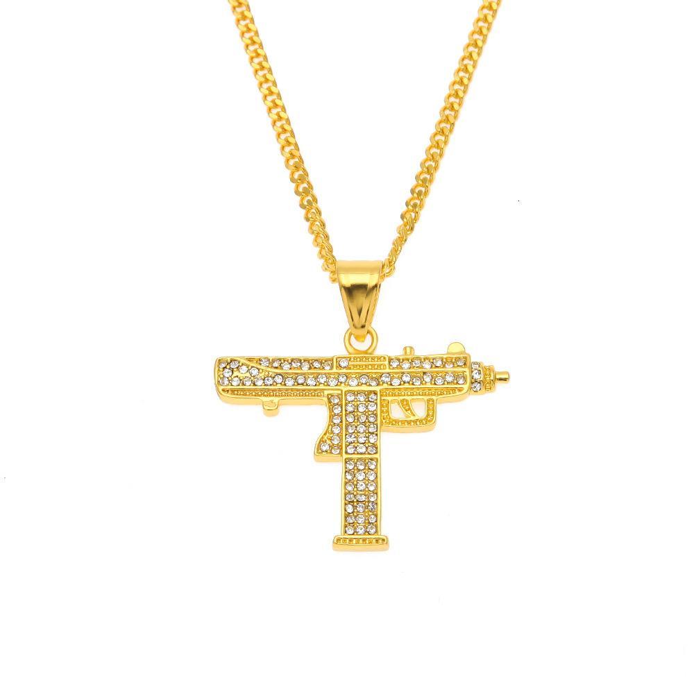 Hip Hop Micro Volle Rhinestone Pistole Uzi Pistole Anhänger Halskette Gold Sier Farbe Kubanische Link Kette Für Männern Eile Out Schmuck